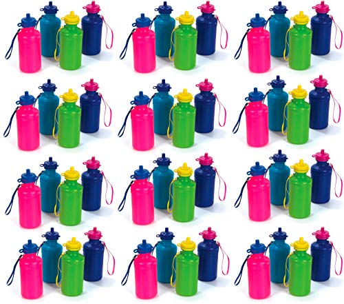 144 Neon Water Sports Bottles for Bikes | MEGA Bulk Pack, 7.5 inches, Wrist Strap | Awesome Summer Beach Accessory |EACH child should have there own FOUNTAIN Holds 18 Ounces of Drinks to Keep Kids Hydrated (144 Bottles)