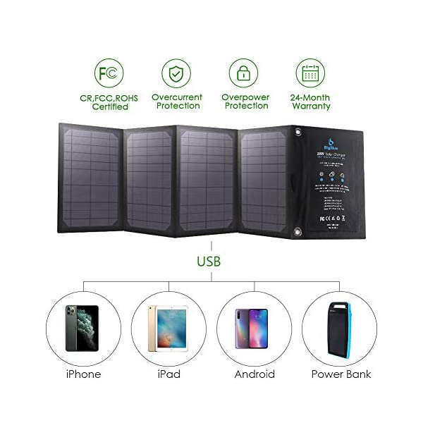 BigBlue 3 USB Ports 28W Solar Charger (5V/4.8A Max Total) Foldable Waterproof Outdoor Solar Battery Charger Compatible…