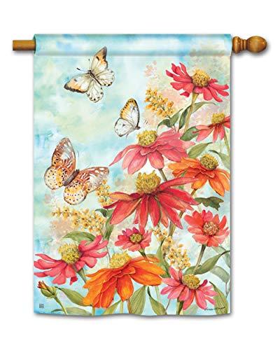 BreezeArt Studio M Summer Zinnias Decorative Standard House Flag Banner – Premium Quality, 28 x 40 Inches