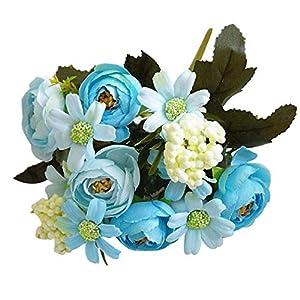 1Pc Artificial Flower Camellia Chrysanthemum Garden DIY Party Home Wedding Decor – Blue