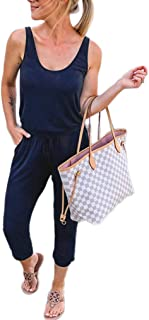 ANRABESS Women's Jumpsuit Crewneck One Off Shoulder Short Sleeve Elastic Waist Romper Playsuits with Pocket