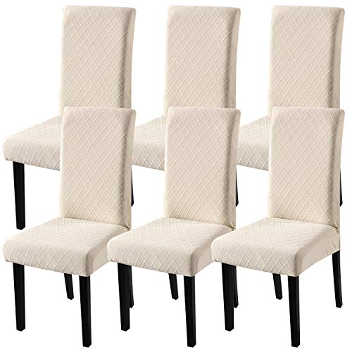 Fuloon 6 Pack Super Fit Stretch Removable Washable Short Dining Chair Protector Cover Seat Slipcover for Hotel,Dining Room,Ceremony,Banquet Wedding Party (Beige)