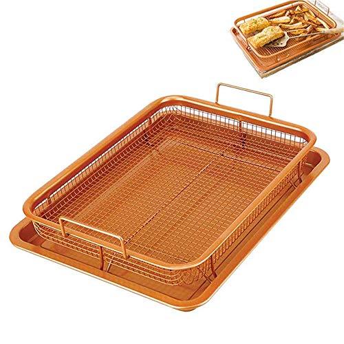 NLYWB Crisper Tablett, Antihaft-Backblech und Air-Fry-Gitterkorb-Set, gesunde, ölfreie Air-Frying-Option für Hähnchen, Pommes Frites, Zwiebelringe Mehr