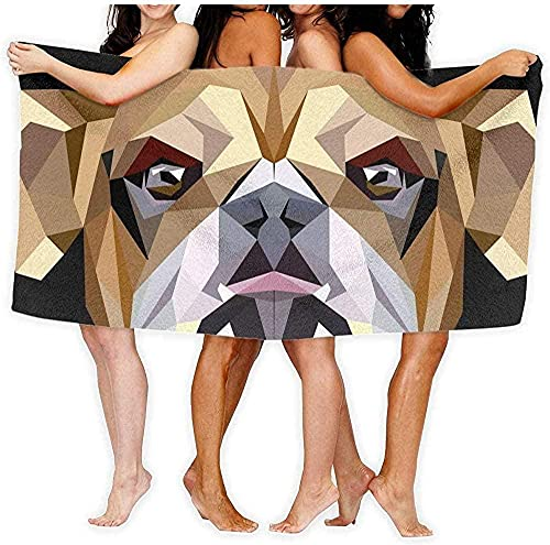 Toalla de Playa Toalla Bulldog británico Toalla de baño Yoga Body Wrap 80 × 130cm