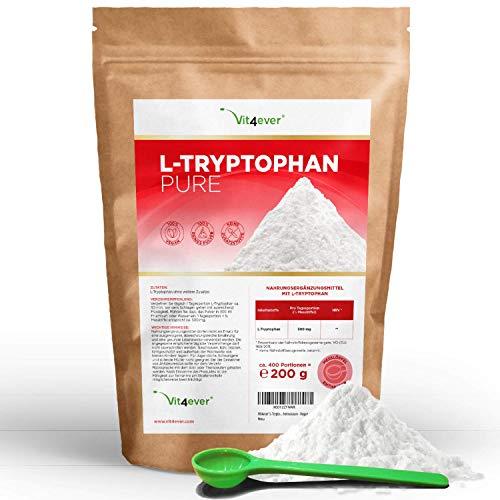 L-Tryptophan Pulver - 200 g - Reines Pulver ohne Zusätze - 400 Portionen a 500 mg - Natürlich aus Fermentation - Laborgeprüft - Hohe Reinheit - Essentielle Aminosäure - Vegan