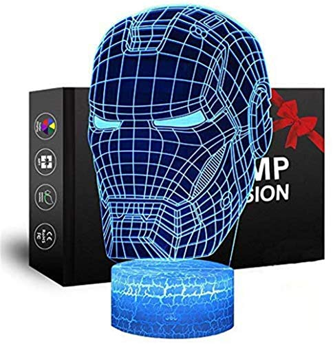 Luz nocturna 3D LED 3D Ilusión óptica Lámpara Iron Man 16 colores y control remoto táctil – Mesita de noche de iluminación regalos juguetes de niñas niño niños para cumpleaños vacaciones Navidad