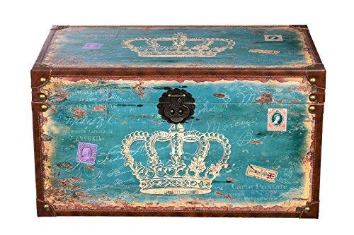 Harvest SJ14307 - Baule in legno con rivestimento in tela stile vintage con guarnizioni in metallo, stampa a forma di corona, effetto antico, diverse misure, di alta qualità, stile coloniale., Legno anticato, Größe XL 59cmx36cmx33cm blau
