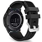 MoKo Band Compatible with Samsung Gear S3 Frontier/Classic/Galaxy Watch 46mm/Huawei Watch GT 46mm/Watch GT 2 46mm/Ticwatch pro/S2/E2, Silicone Sport Strap Fit 22mm Band, Black