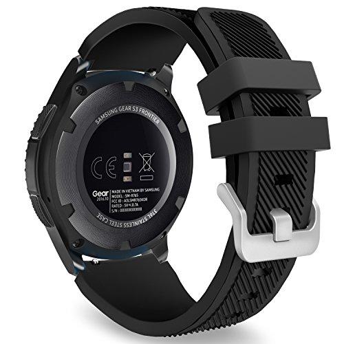MoKo Cinturino in Silicone Compatible con Galaxy Watch 3 45mm/Galaxy Watch 46mm/Gear S3/Huawei Watch GT2 Pro/GT2e/GT 46mm/GT2 46mm/Ticwatch Pro 3, 22mm Braccialetto Morbido Sportivo, Nero