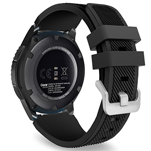 MoKo Samsung Gear S3 Frontier/Galaxy Watch 46mm / Classic/Moto 360 2nd Gen 46mm Correa - Watch Band Deportiva de Silicona Suave Reemplazo Sport Band - Negro