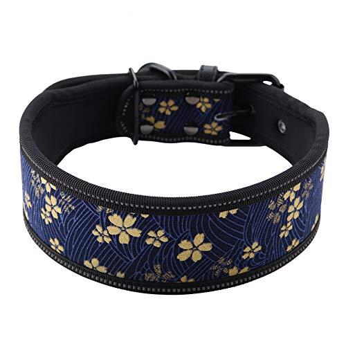 Hundehalsband aus Nylon verstellbares Nylonhalsband Bequemes Sicherheitshalsband mit reflektierender Schnalle für mittelgroße und große Hunde(M-Marineblau )