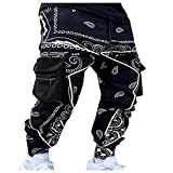 LowProfile Hip Hop Paisley Harem Pants for Men, Baggy Hippie Boho Trousers Mens Popular Streetwear Loose Sweatpants Black