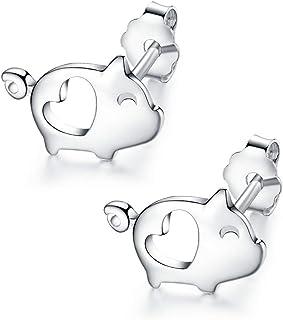 Dtja Love Heart Cute Pig Sterling Silver أقراط للنساء في سن المراهقة بنات أذن حساسة صغير محظوظ بوست