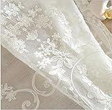 1 Pieces Rideaux de voile brodés blancs rideaux de rideaux de chambre pour salon rideaux de fenêtre en tulle / panneaux de dépistage de fenêtre , W350xL250cm