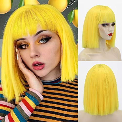 Nnzes Short Bob Wigs with Bangs 10 Inch Yellow Straight Wig for Women Shoulder Length Girl's Synthetic Colorful Hair for Halloween Costume Cosplay Wear