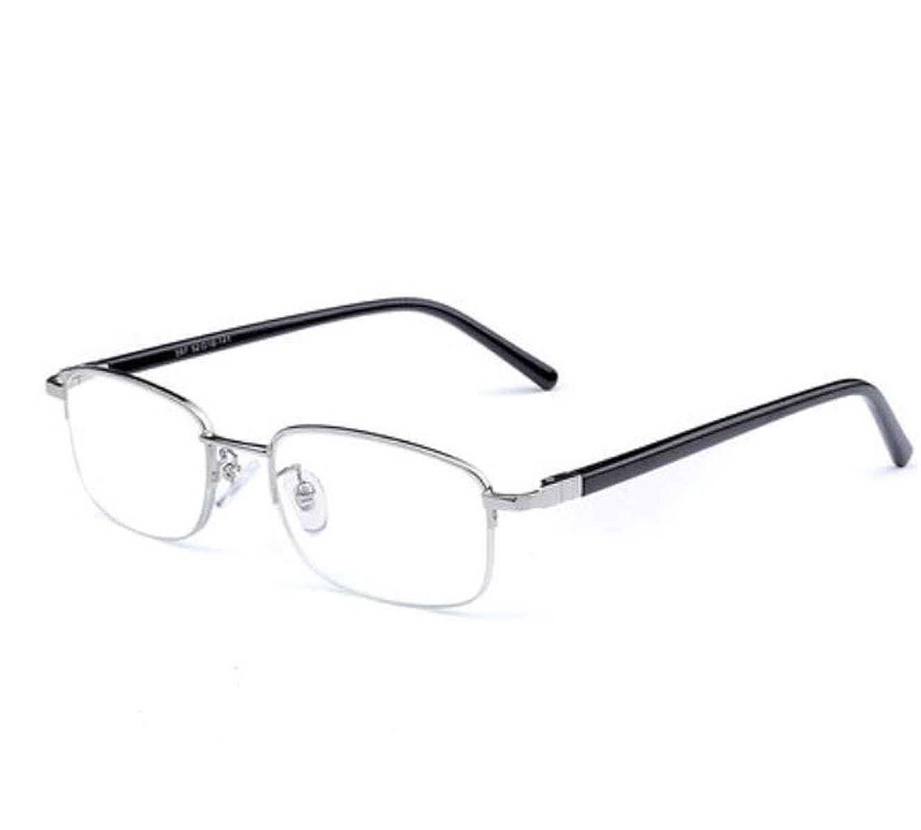 エンターテインメント発生器歴史ブルーレイ読書用眼鏡男性HD半フレーム快適なビジネス読書眼鏡ギフト眼鏡エレガントで快適な古い光の鏡 (Color : Silver, Size : +1.50)