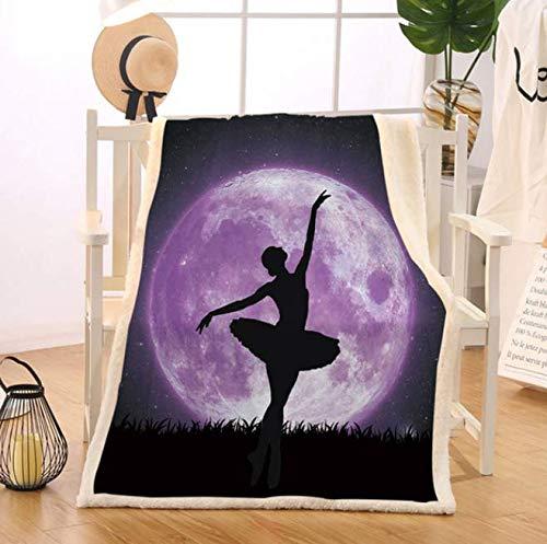 DJSK Mantas de Cama de Ballet Manta de Tiro de Luna púrpura Gigante Bailarina Colcha de Felpa Galaxy Night Sky Ropa de Cama Elegante 200 * 150 cm