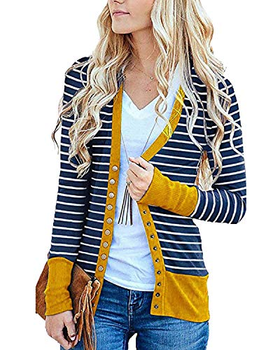 Womens Color Block Striped Draped Kimono Cardigan with Pockets Long Sleeve Open Front Casual Knit Sweaters Coat
