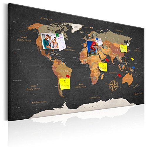 murando - Mapamundi con Tablero para Clavar chinchetas 90x60 cm - Cuadro en Lienzo sintético - Panel de Fibra - Mapa del Mundo Continente - k-C-0048-v-a