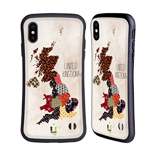 Head Case Designs United Kingdom Patterned Maps Hybrid Case Compatible for iPhone XS Max