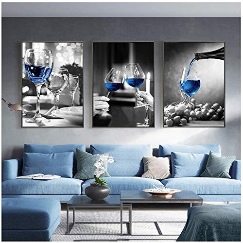 MZDesign Póster Cartel de Impresiones artísticas en Lienzo de Copa de Vino Azul Imagen de Pared Moderna Bar Restaurante Cocina Decoración de Pared Comedor Sala de Estar Decoración-40x60cmx3 Sin Marco