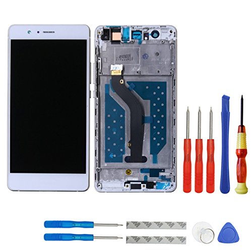 SWARK LCD Display Compatible with Huawei P9 Lite / G9 lite VNS-L21 / L22 / L23 / L31 / L53 (Not fits for P9 Lite 2017) (White + Frame) Touch Screen Digitizer Glass Assembly + Tools