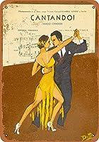 なまけ者雑貨屋 Cantando! Dance the Tango ブリキ看板 壁飾り レトロなデザインボード ポストカード サインプレート 【20×30cm】