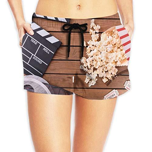 Redsheep Movie Board Tape Popcorn Damen Beach Shorts Boardshorts mit Taschenschwimmhose-X-Large