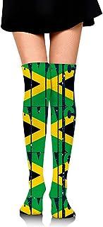 Jesse Tobias, Calcetines rectos de la bandera de Jamaica para mujer Medias altas hasta el muslo Medias altas hasta la rodilla