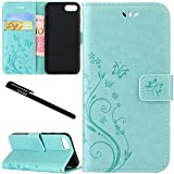 """Urvoix iPhone 7 / iPhone 8 Case, Card Holder Stand Smooth Hand Feel PU Leather Wallet Case - Embossed Flower Butterfly Flip Cover for 4.7"""" Version iPhone 7 / iPhone 8 (NOT for 7Plus) Green"""