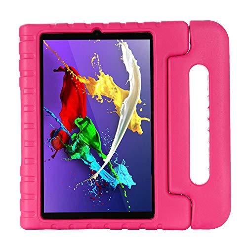 QANG Funda para Lenovo Yoga Tab 5 YT-X705F 10.1', Ligero y Super Protective Antichoque EVA Estuche Protector Diseñar Especialmente Manija Caso con Soporte para los Niños (Rosa roja)