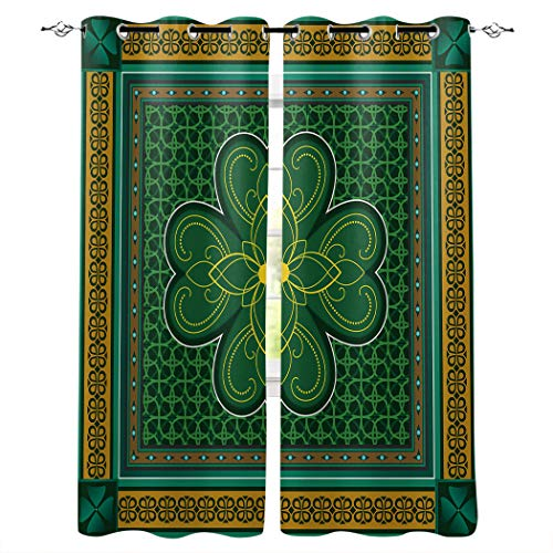 Home Decor Window Curtains, St. Patrick's day Retro Celtic Knots Lucky Clover Design Irish Decor - 2 Panel Window Treatment with Grommet Window Drapes Covering for Kitchen Cafe Living Room 80'W x 63'L