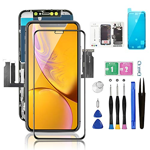for iPhone XR Screen Replacement with Magnetic Screws Map, Bsz4uov LCD Touch 3D Digitizer Display for A1984, A2105, A2106, A2108, Waterproof Frame Adhesive Sticker+Repair Tools Kit+Face ID