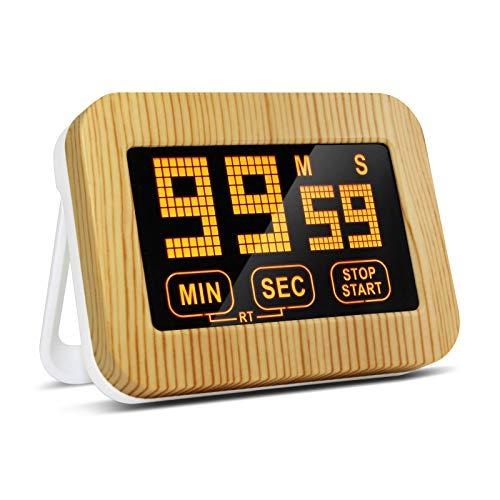 ZB ZealBoom Touchscreen Küchenuhr Timer Digitaler, Küchentimer Magnetisch Elektronische Eieruhr Stoppuhr mit LCD Display und Stand, Lauter Wecker für Kochen/Studie/Sport Übung