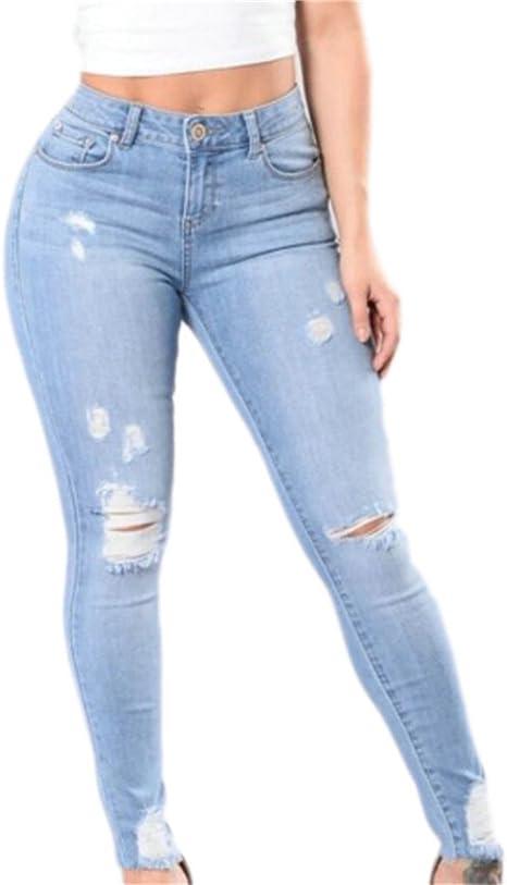 Domple Para Mujer Cintura Alta Roto Skinny Elastico Pantalones De Mezclilla Jeans Amazon Com Mx Ropa Zapatos Y Accesorios