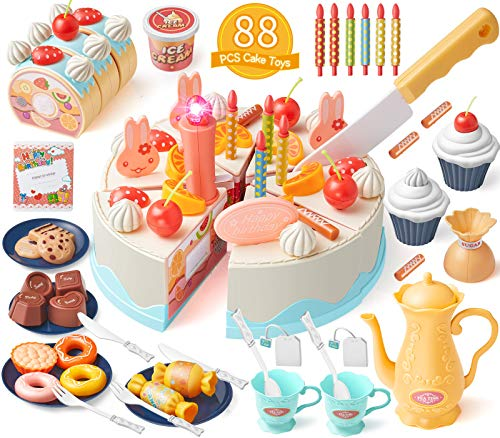 GeyiieTOYS 88Pcs Play Birthday Cutting Cake Set DIY Role Kids Toy Food with Chocolate Dessert Candles, Ice Cream, Biscuits, Candy and Chocolate for Children Aged 3+