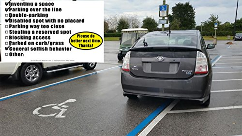 YOU PARKED LIKE A MORON 50 Note Pack by Witty Yeti. Its Time to Punish Parking Lot Idiots. Tick The Boxes on The Back to List Their Sins & Get Justice! Hilarious Prank, Gag Gift, Stocking Stuffer. Photo #2
