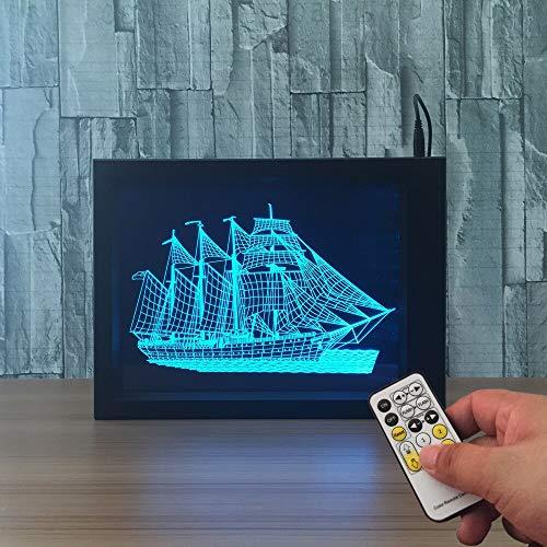 jiushixw 3D acryl nachtlampje met afstandsbediening van kleur veranderende tafellamp boot en fotolijst kinderen slaapkamer stof tafellamp