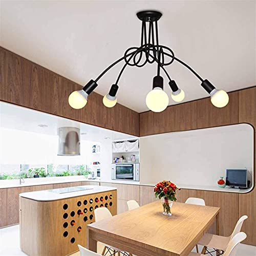 Mrdsre Industrial Edison 5 Lights Semi Flush Light Light 5-Light Chandelier Lámpara Creativa, E27 Base Black For Living Comedor Bar Hotel Restaurante