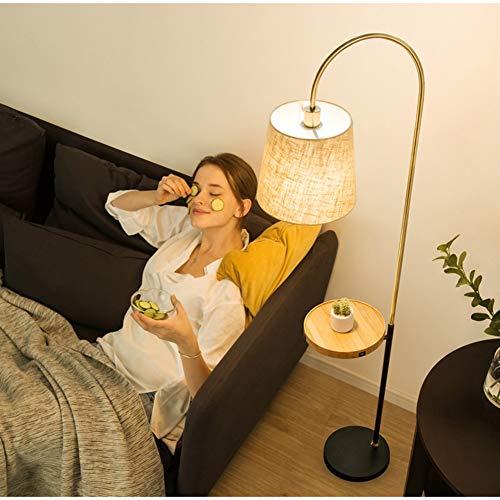 QTDH Perzik Goosenhoek staande lamp met serveerwagen USB opladen designer leeslamp tafellamp salontafel staande lamp voor woonkamer kantoor kantoor werkkamer
