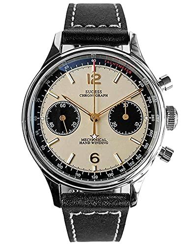 SUPAN002SN Seagull ST1901 Uhrwerk Saphir-Kristall Herren-Armbanduhr Panda Chronograph 1963