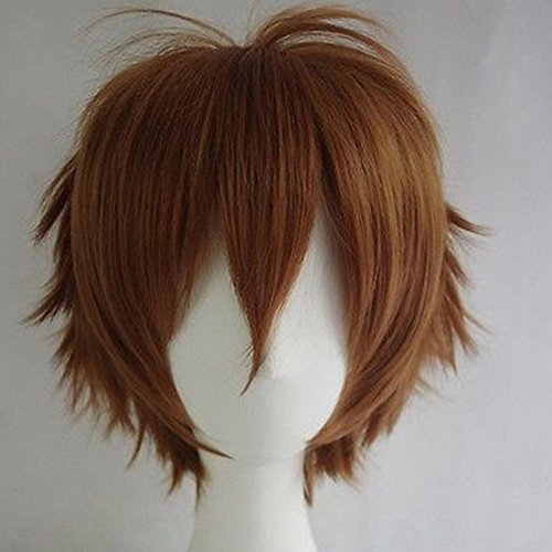 S-noilite Unisex Cosplay Short Straight Hair Wig Women Mens Male Anime Party Costume Synthetic Full Wigs (Light Brown)