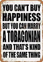 金属のティンサイン-あなたは幸せを購入することはできませんが、トバゴ人と結婚することはできます-ヴィンテージのバーの壁の装飾