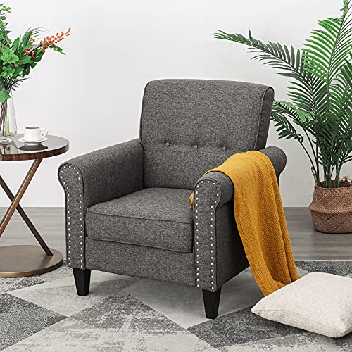 Flexpedic Linen Upholstered Foam Modern Sofa, Comfortable Armchair for Bedroom, Living Room or Office, Grey (SKL-021)