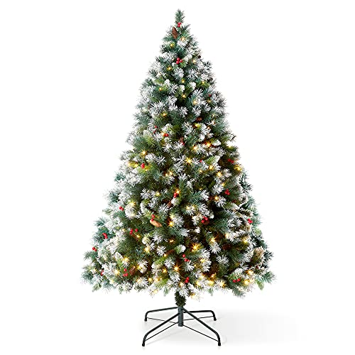 6FT Claudia Pre Lit Christmas Tree with 300LED Lights with Timer, 8 Light Modes, Decorative Pinecones and Berries