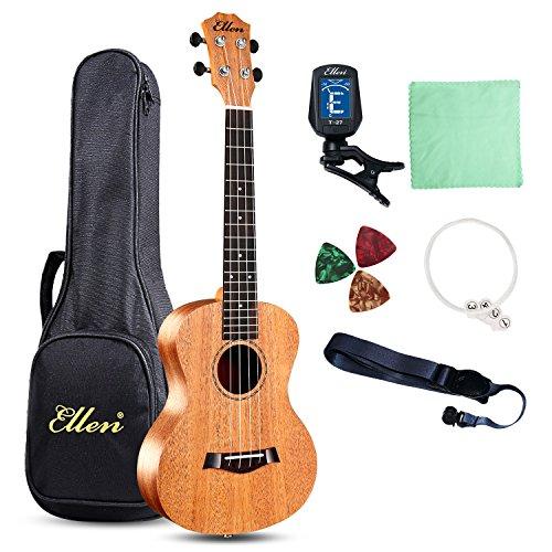 Ellen ukelele de concierto cuerdas 23inch Profesional Madera de caoba guitarra hawaiana Kit de principiante: funda bolsa + correas + púas + sintonizador