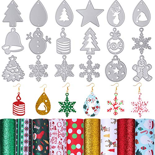 18 Pieces Christmas Earring Cutting Dies and 9 Pieces Christmas Theme Faux Leather Sheets for Christmas Tree Snowflake Deer DIY Earrings Making Ornament Handicraft Supplies