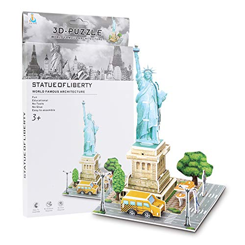 cfmour 3D Puzzles National Geographic United States Statue of Liberty Scene 3D Puzzle for Kids Architecture Model Kit Game Toy to build, 26 Pieces