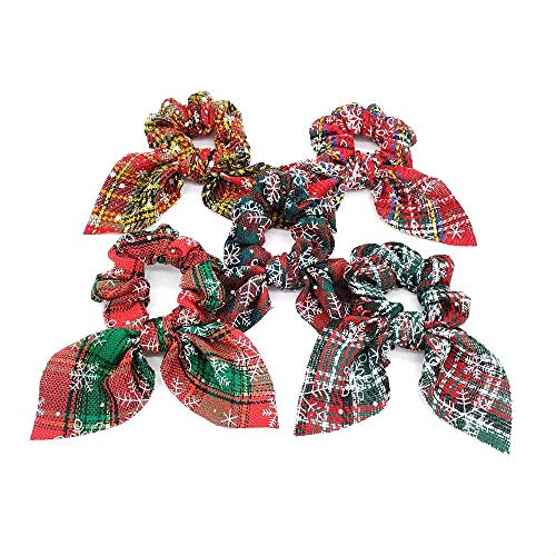 5 Pack Big Christmas Hair Scrunchies Fabric Snowflake Ponytail Holder Elastic Hair Ties Hair Scrunchies with Bow Hair Accessories for Women and Girls Dance