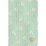 """Clairefontaine 193306C - Un carnet piqué cousu fil Neo Deco 96 pages ivoire 11x17 cm 90g lignées, couverture carte pelliculée, motif """"liane"""" vert d'eau"""